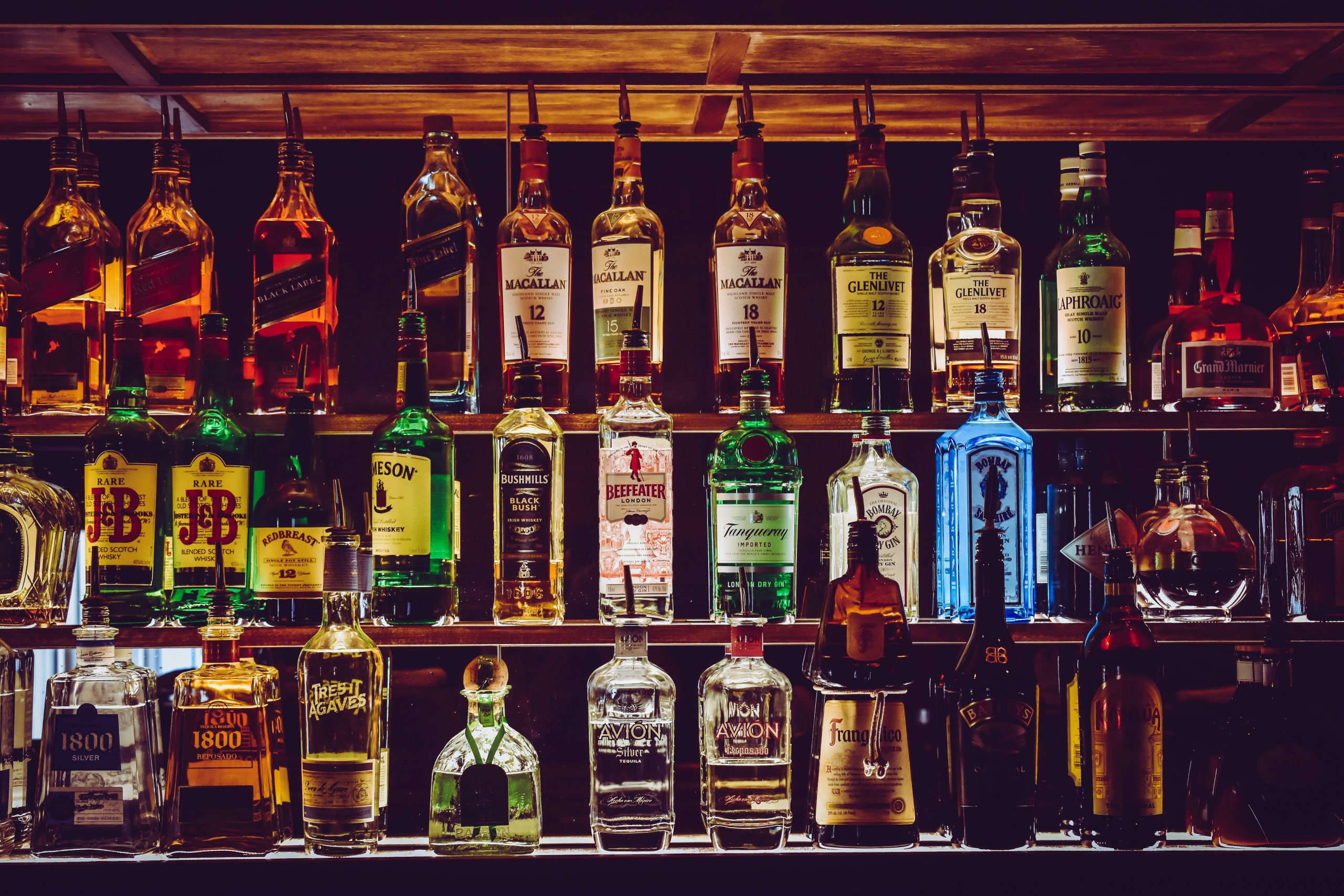 Shelves stocked with alcohol