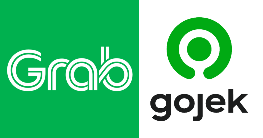 Grab and Gojek logos side by side